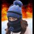 """Женская вязаная шапка """"Mademoiselle blue"""" с круглым шарфом и маской"""
