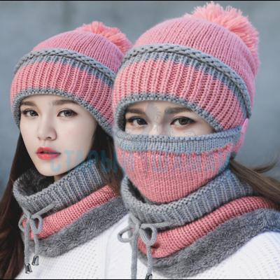 """Женская вязаная шапка """"Mademoiselle pink"""" с круглым шарфом и маской"""