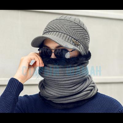 "Вязаная шапка ""ST"" с круглым шарфом"
