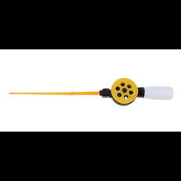 Зимняя удочка с короткой пенопластовой ручкой, со складной подставкой (желтая)